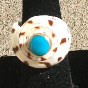 Jewelry - Shell Ring with Turquoise Stone